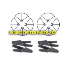 F5-30 Main Propellers 8PCS + Propeller Guard 8PCS Parts for Contixo F5 Drone Quadcopter