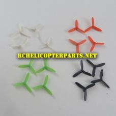 PAT10-30-MIX 4 Set of Tri-Blade Props 16PCS White & Red & Black & Green Parts for Propel Atom 1.0 Micro Drone Quadcopter