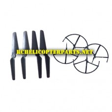 Crash Kit Propellers 4pcs & Prop Guards 4PCS for Sky Rider Condor Pro Drone DRW876
