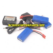 VIVDRC-446-38 Lipo Batteries 3pcs + Balancer Charger 1 Set Parts for Vivitar DRC-446 AeroView Drone
