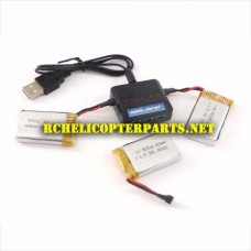 K33-Batteries Upgrade 800mAh 3 PCS with Charger for Kingco K33 RC Drone Quad