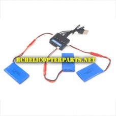 RC-QDR-POV-36 Battery 780mAh 3PCS and Charger Parts for AWW AW-QDR-POV Quadrone Vision