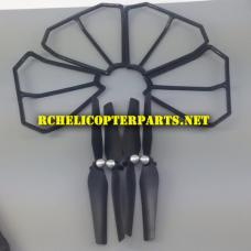 F10-25 Main Propeller 4PCS and Blade Protector 4PCS Parts for Contixo F10 Drone Quadcopter
