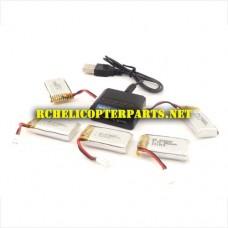 902-27 Batteries 380mAh 5pcs and Charger Parts for Haktoys Hak902 Quadcopter Drone