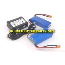 61827CA-31 Lipo Battery 2PCS and Charger Parts for Protocol Propel 6182-7CA Galileo Stealth Drone Quadcopter